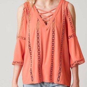 BKE Red coral crochet inset cold shoulder top M